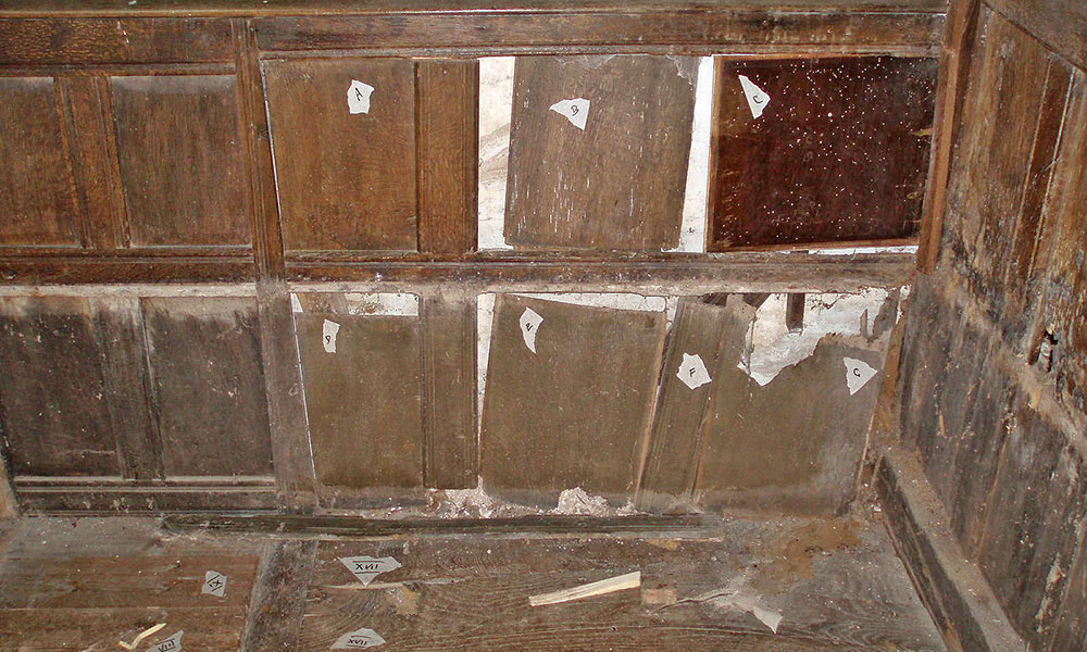 Panelling during conservation, with minimal loss or repair showing on front face.