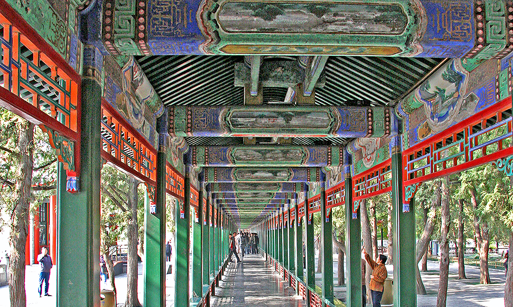 The usual contradictory forces of repainting using traditional skills versus conservation had to be considered during the process of working out how Beijing could maintain its World Heritage status in respect of the work.