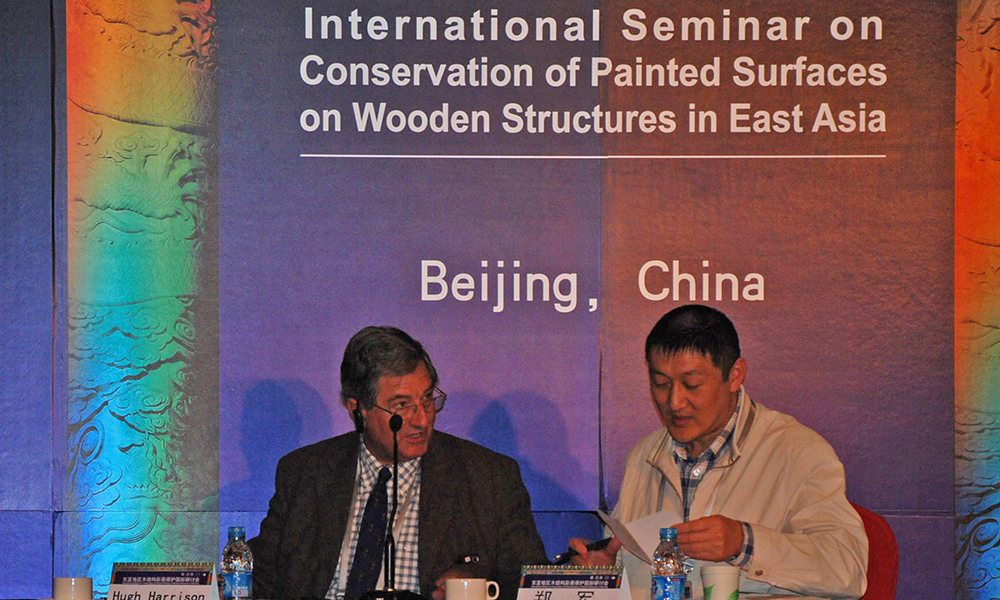 Hugh co-chairing a session at the International Seminar on Conservation of Painted Surfaces on Wooden Structures in East Asia