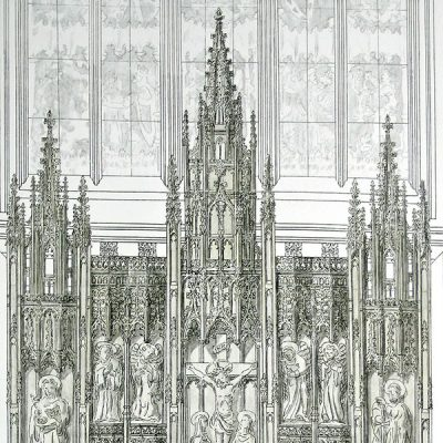 100 years later the project seemed a natural celebration of the centenary of the construction of the chapel, so a working drawing was commissioned on which a price could be estimated for this huge piece of woodwork.