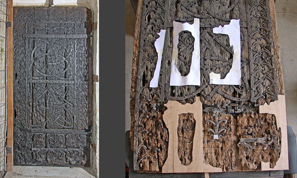 One of the most important early Norman doors in the country, exhibited at the Romanesque Exhibition in the Haywood Gallery in 1984. Recent dendrochronology confirms a date of circa 1150.