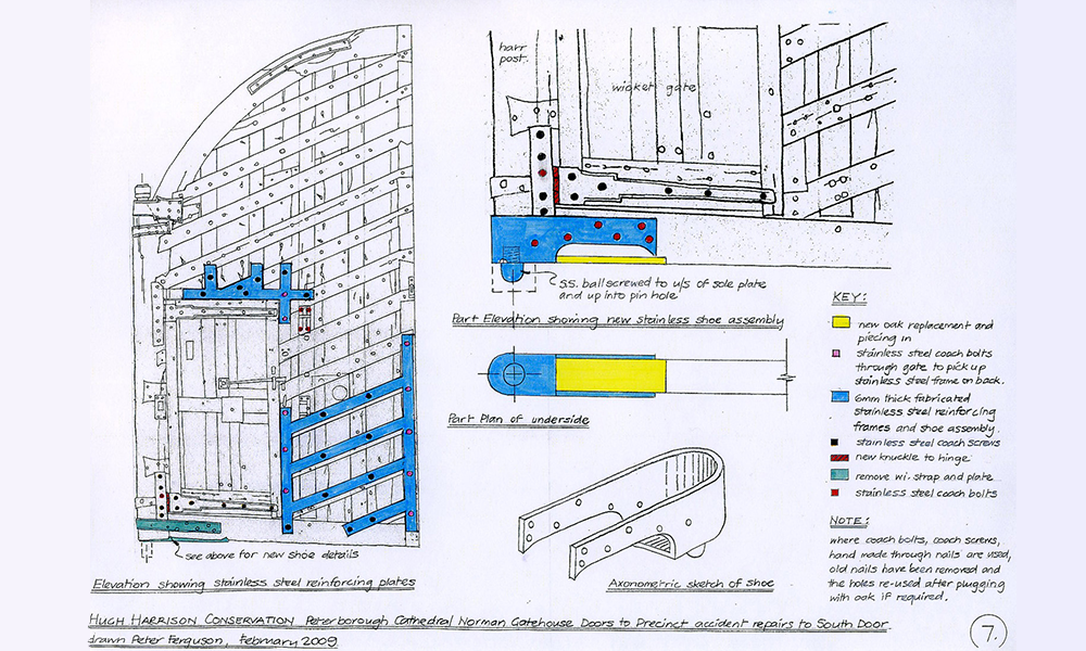 Drawing showing extent of stainless steel added to reinforce structure of gate, allowing full retention of original material