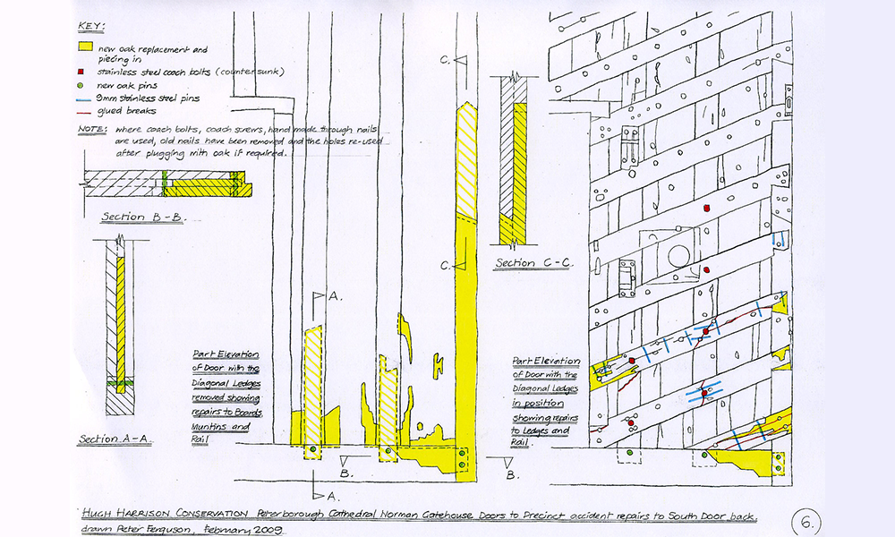 Drawing showing repairs carried out to back of gate