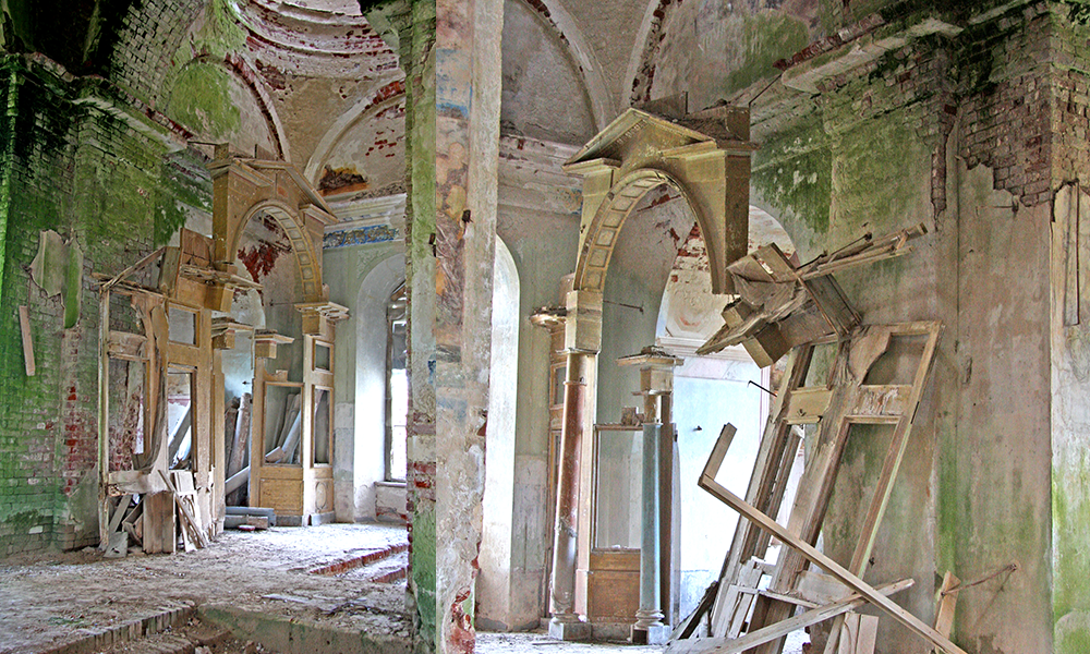 Surviving fragments of South and North iconostasis in Zamytie Church