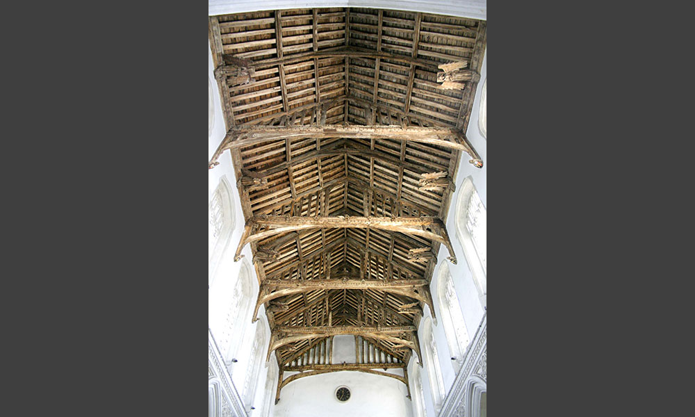 One of the great East Anglian angel roofs, where we attended to decaying angels and loosely fixed wings and all the other carvings.