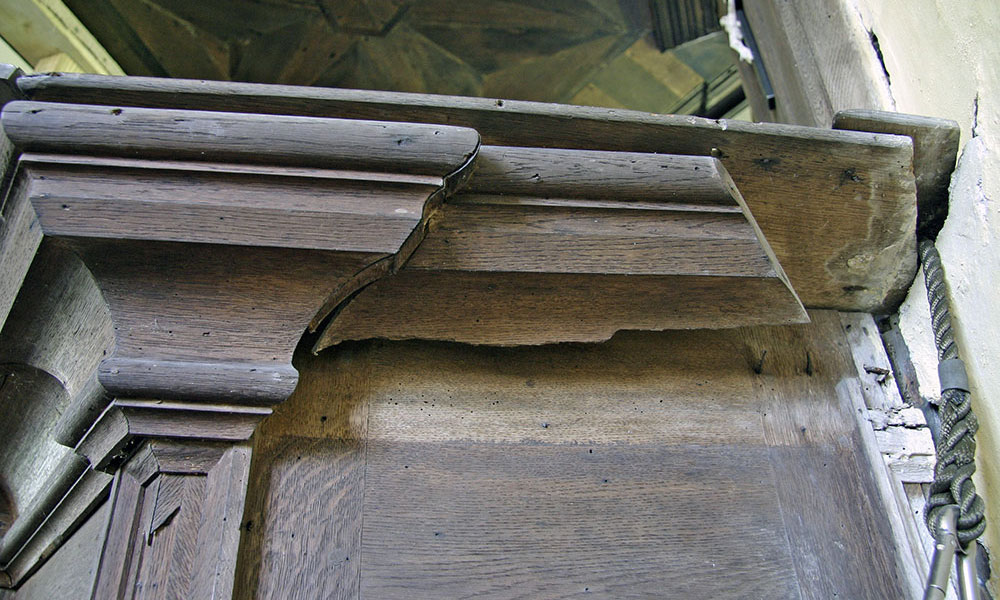 Molland has one of the most complete 18th-century interiors in a medieval church situated on Exmoor. The pulpit and tester were becoming dangerous with the tester being propped for several years.