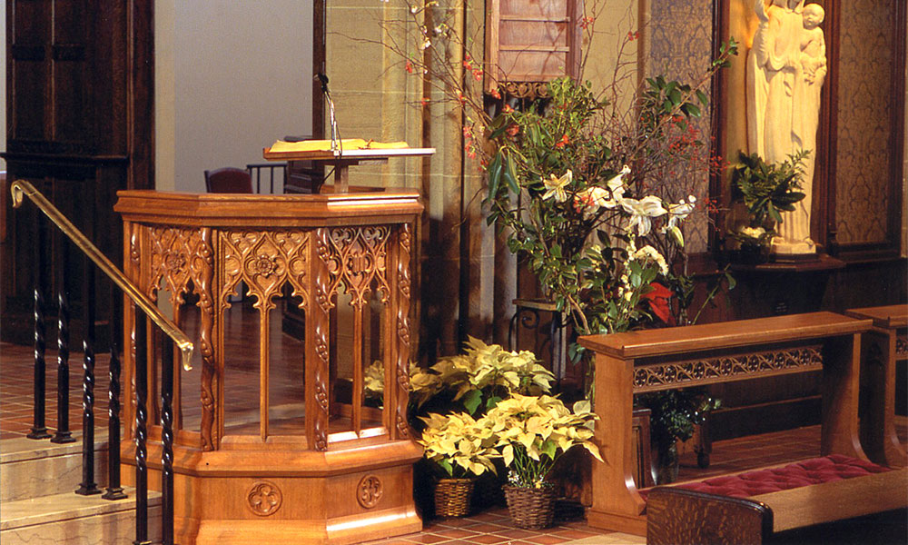 St Thomas More, Madison Ave, New York: Various furnishings Besides a pulpit and altar rails which we designed and made for this eminent Catholic church, a fitting memorial to commemorate the dedicatee was sought.